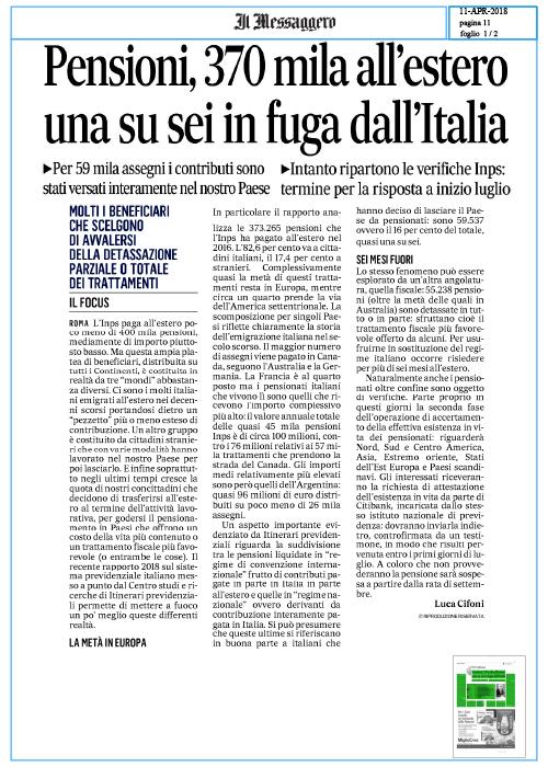 Pensioni,-370-mila-all'estero---una-su-sei-in-fuga-dall'Italia-IL-MESSAGGERO